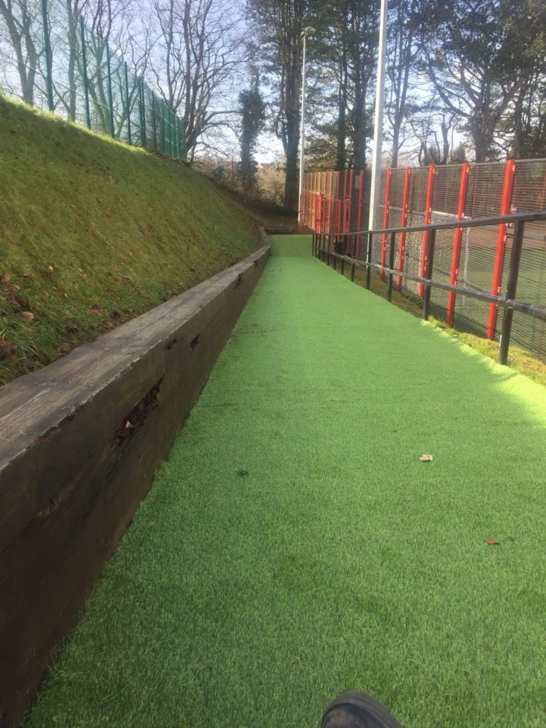 Image of artificial grass job at goalkeeping centre in Caerphilly